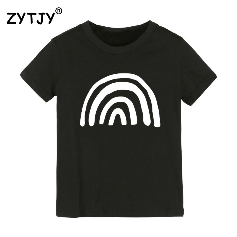 Rainbow Print Kids tshirt Boy Girl t shirt For Children Toddler Clothes Funny Tumblr Top Tees CZ-122