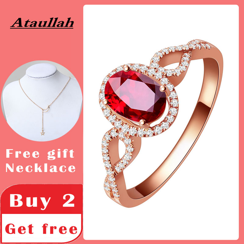 Ataullah Natural Red Ruby Rings 925 Silver 18k Rose Gold Plated Inlaid with 3A Zircon Gemstone Ring Fine Jewelry for Woman RW085