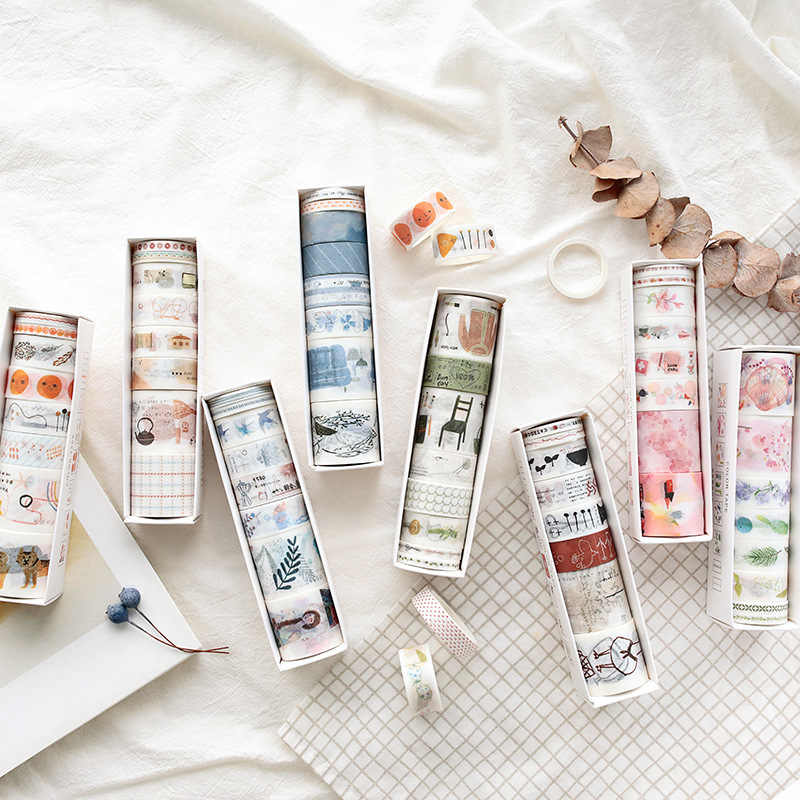 8 Stks/partij Mohamm Kleur Leven Serie Serie Handbook Dagboek Diy Decoratieve Washi Tapes Set Scrapbook Supplies Stickers Scrapbooking
