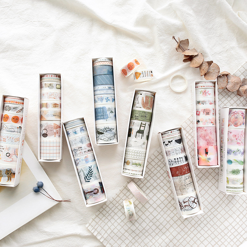 8pcs/lot Mohamm Colour Life Series Series Handbook Diary DIY Decorative Washi Tapes Set Scrapbook Supplies Stickers Scrapbooking