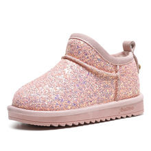 winter fur warm girls boots fashion princess new snow kids boots for girls Sequins cotton children shoes Ankle Genuine Leather недорого