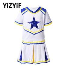 Kids Girls Cheerleader Costume Jazz Dance Clothes Cheerleading Uniforms Short Sleeves Stars Applique Tops with Pleated Skirt Set