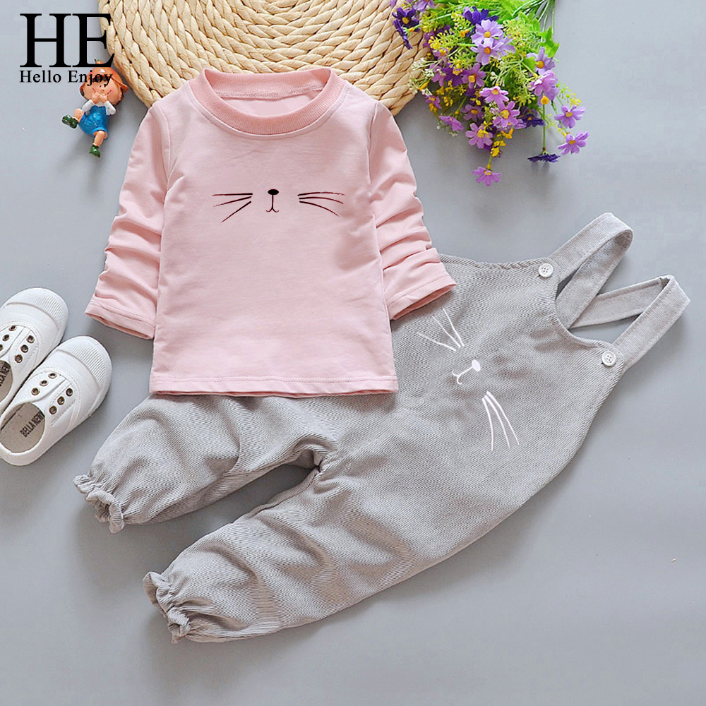 HE Hello Enjoy Autumn Baby Girls Clothes Sets Long Sleeve Cartoon Cat Sweatshirts + Strap Pants Casual Tracksuit For Kids Suits