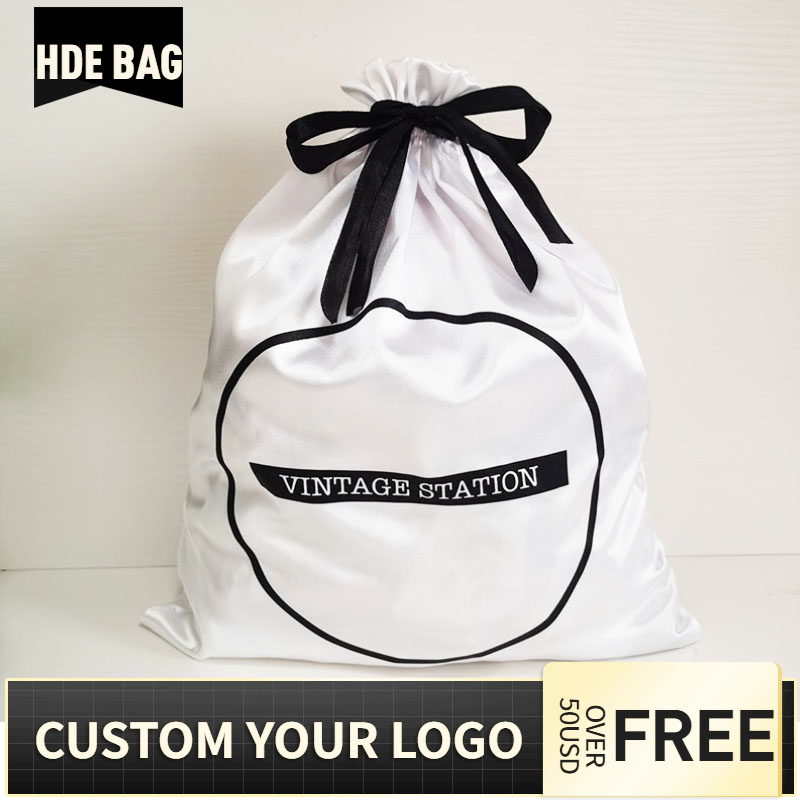 50pcs 40x50cm Large Size White Silk Satin Drawstring Bag Shoes Clothes Box Cover Hair Wigs Storage Packaging Bags Custom Logo