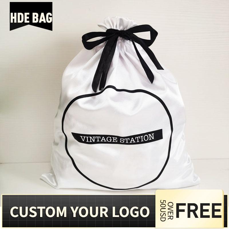 50pcs 40x50cm Large Size White Silk Satin Drawstring Bag Shoes Clothes Box Cover Hair Wigs Storage Packaging Bags Custom Logo