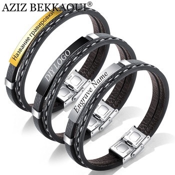AZIZ BEKKAOUI 3 Colors Punk Engrave Name Leather Bracelet for Men Rope Chain Stainless Steel Bracelets Male Jewelry Dropshipping stainless steel men bracelet bracelets for women couple bracelet punk hip hop handmade long square chain