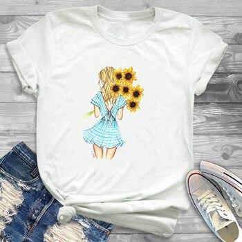 Harajuku camiseta gráfica para mujer, camiseta con estampado de girasoles y flores para mujer, camiseta informal para mujer