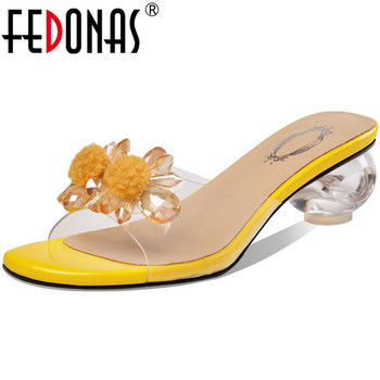 FEDONAS Sweet Classic Design Women Sandals With Crystal  Summer Peep Toe Thick Heels Female Slippers Casual Basic Shoes Woman