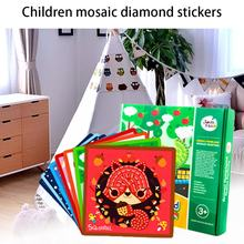 Children'S Animal Home Stickers Mosaic Diamond Paper Stickers 3D Stereo Stickers Cartoon Diy Handmade Set(China)