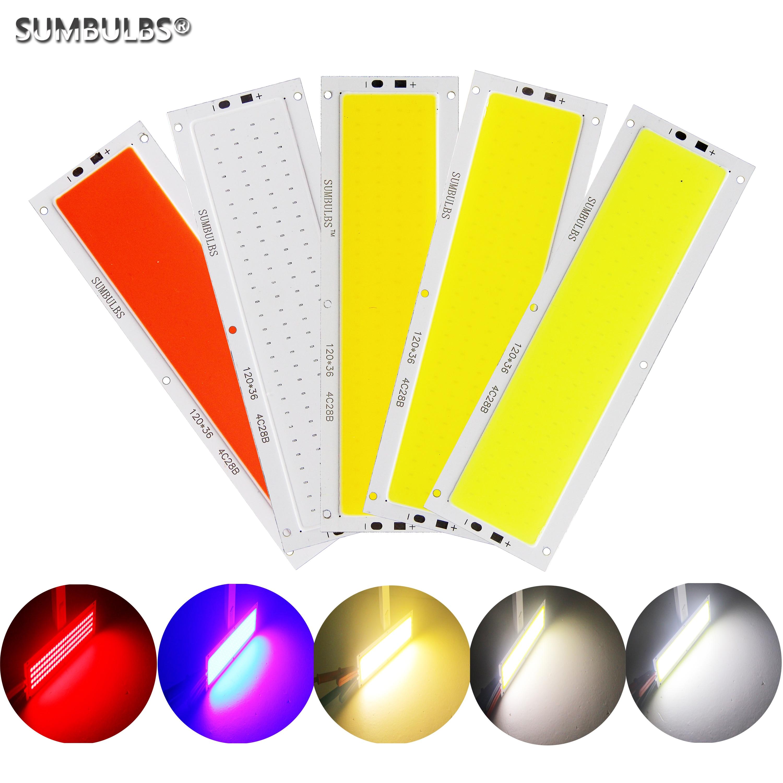 SUMBULBS 12V LED COB 12W LED Light Source Strip Bulb Panel Lamp Warm Natural Cold White Blue Color 120x36mm Chip LED Lighting