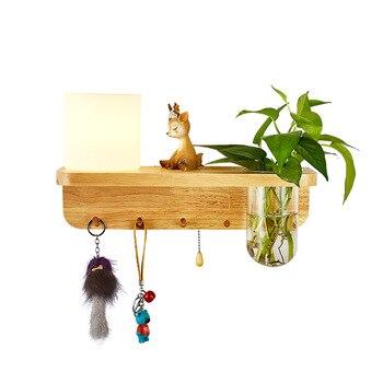 Neue Nordic Innen Schlafzimmer Grüne Pflanze Wand Lampe Kreative Balkon Wohnzimmer Holz Basis LED Flur Wand Licht|LED-Innenwandleuchten|Licht & Beleuchtung -