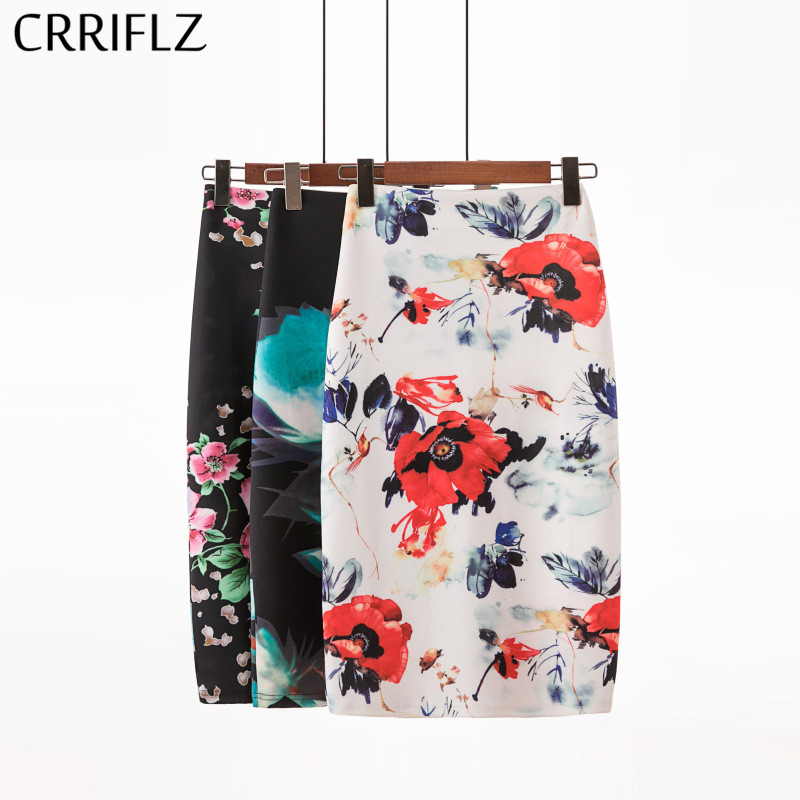 CRRIFLZ Fashion Spring Summer Style Pencil Skirt Women High Waist Green Skirts Vintage Elegant Bodycon Floral Print Midi Skirt