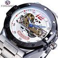 Forsining Neue Racing Herren Mechanische Uhr Automatische Sport Military Transparent Brücke Silber Qualität Edelstahl Band Uhr-in Mechanische Uhren aus Uhren bei