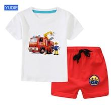 цена Summer Baby Boys Clothing Sets Children clothes Kids Little boy Cartoon T-shirt+Pants Infant Casual Suits Tracksuit Cotton Sport онлайн в 2017 году
