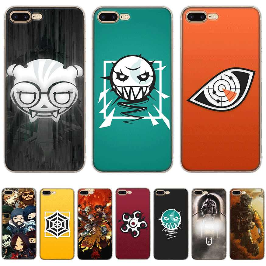Mobile Phone Case for iPhone 11 Pro X XR XS Max 5 5s SE 6 6S 7 8 Plus Hard Cover Rainbow Six Siege 6