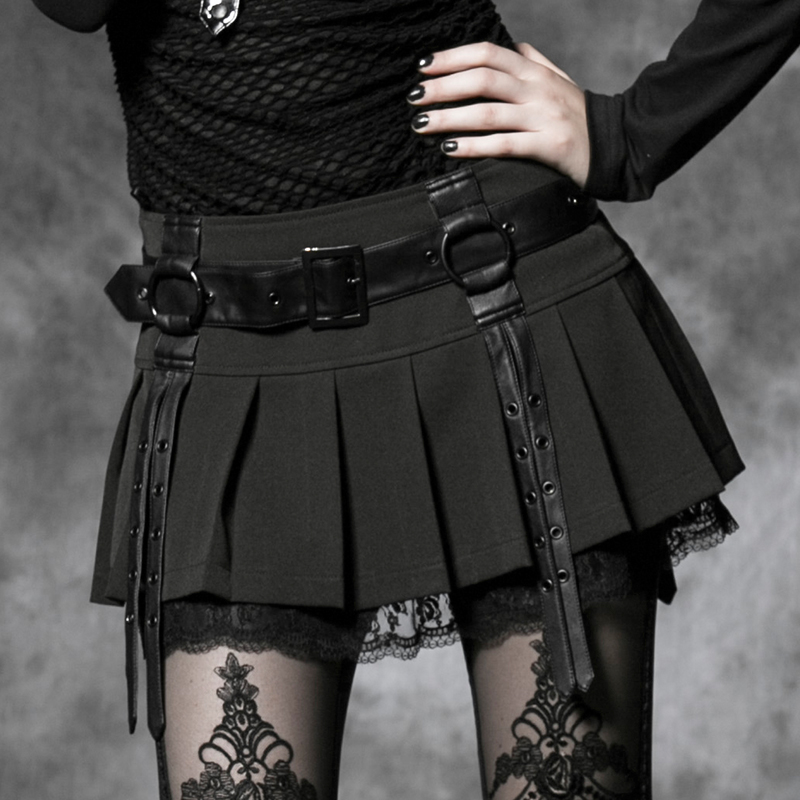 Women's Gothic Lolita Short Skirt Korean Steampunk Sexy Girl Pleated Skirt Club Party Mini Skirts