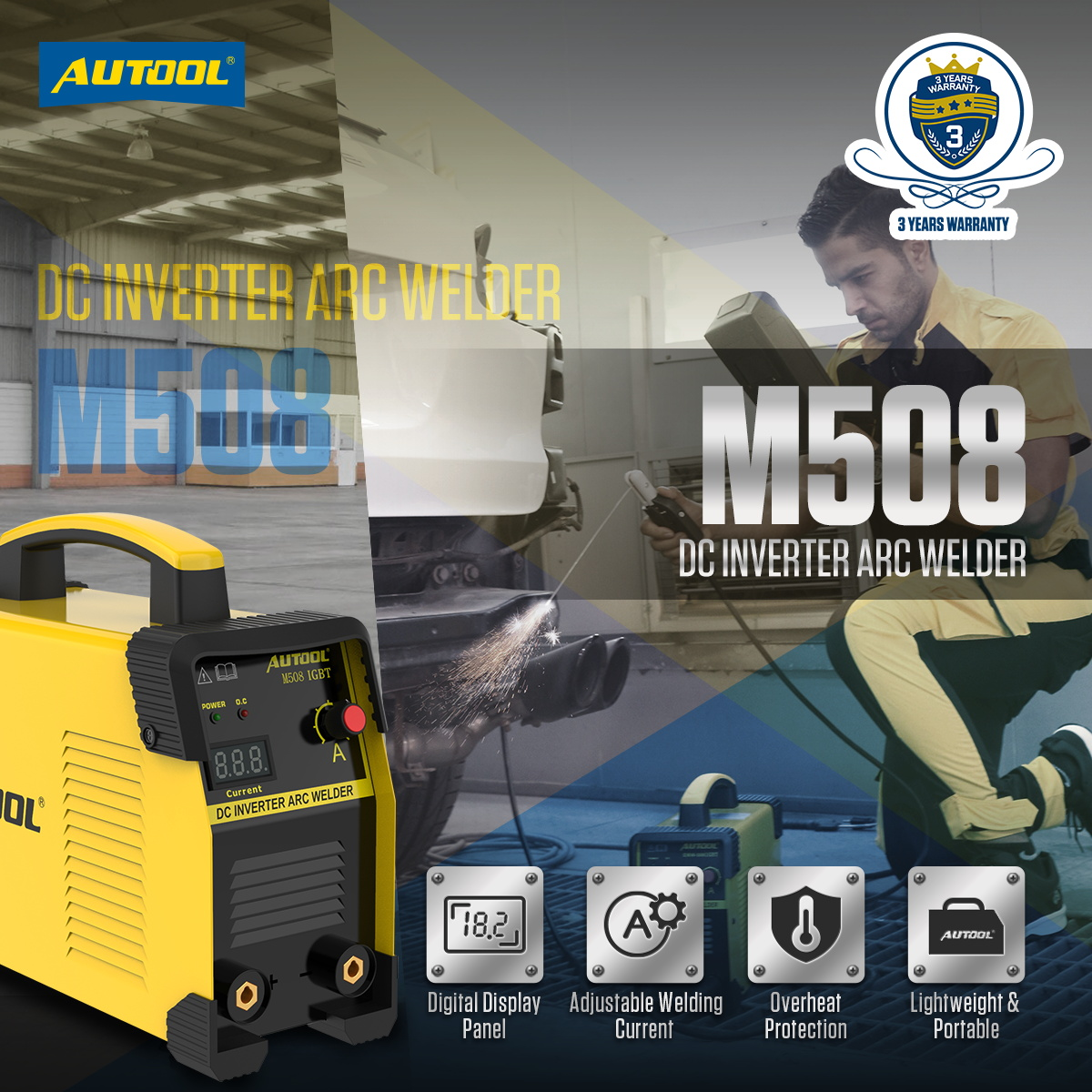 AC 110V-240V AUTOOL EMW-508 Arc DC Inverter Welder US Plug IGBT 20-160A Handheld Intelligent Welding Machine Compatible with 1//8 Welding Rod