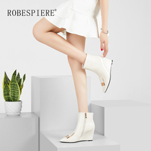 ROBESPIERE Wedges Boots Women Winter Pointed Toe Zippers Lady Large Size Shoes Natural Leather Western Ankle For B88