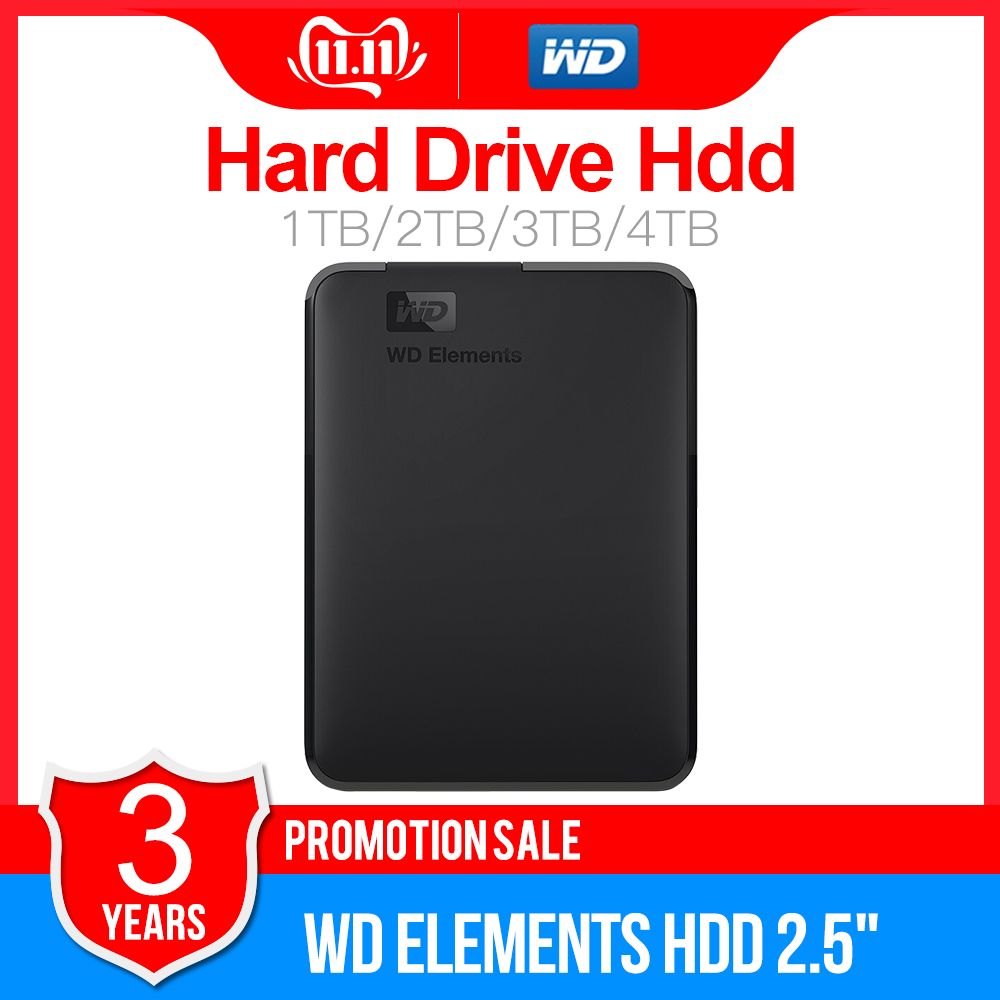 "Western Digital WD Elements Portable HDD External Hdd 1TB  2TB HDD 2.5"" USB 3.0 Hard Drive Disk 3TB 4TB  Original For PC Laptop"