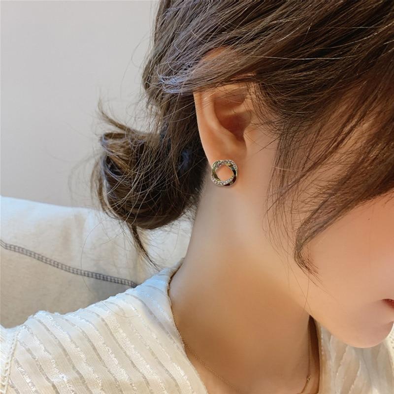 Circle Crystal Stud Earrings