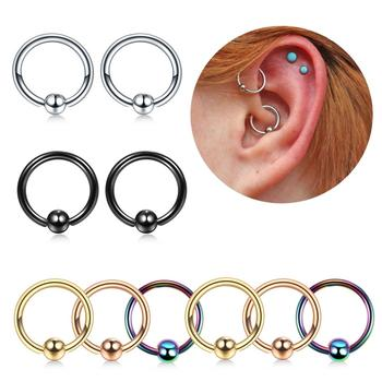 1PC Stainless Steel Captive Bead Rings Ear Hoop Nose Rings Rook Cartilage Tragus Piercings Ring Body Jewelry Septum Earrings 16G image