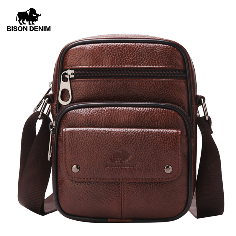 BISON DENIM Genuine Leather Shoulder Bags Zipper Designer Small Vintage Crossbody Messenger Bags For Men Male W2431