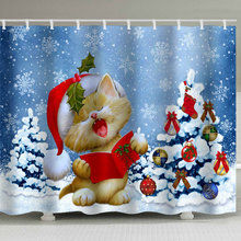 Christmas Christmas Human Printed Waterproof Punch-Free Belt Hook Bath Curtain