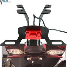 цена на CNC Motorcycle License Number Plate Frame Holder Bracket with LED light For YAMAHA tmax T-MAX 530 TMAX 530 2017 2018 TMAX530