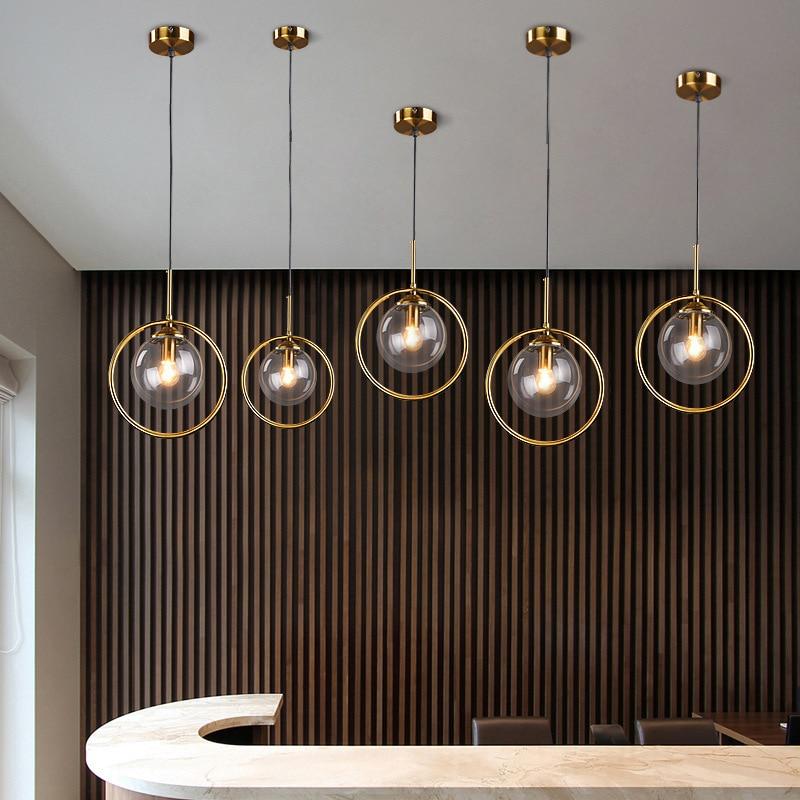 Modern Gold Round Pendant Lights Metal Glass Kitchen Hanging Lamps For Living Room Bedroom Bedside Lamp Home Deco Light Fixtures