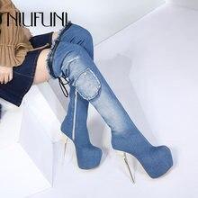 Niufuni женские ботфорты из джинсовой ткани однотонные водонепроницаемые