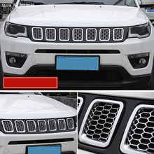 For Jeep Compass 2017 2018 2019 ABS Front Car Grille Molding Lid Middle Net Cover Trim Decor Styling Accessories