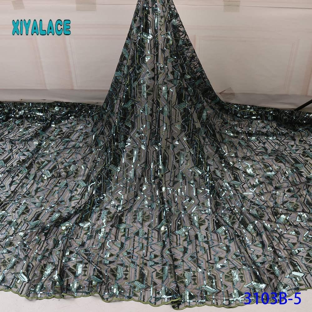 Green African Lace Fabric 2019 High Quality Sequins With Embroidery Nigerian Lace Fabric For Women French Mesh Lace Fabric 3103B