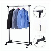 Adjustable Rolling Clothes Hanger Coat Rack Floor Hanger Storage Wardrobe Clothing Drying Racks With Shoe Rack(China)