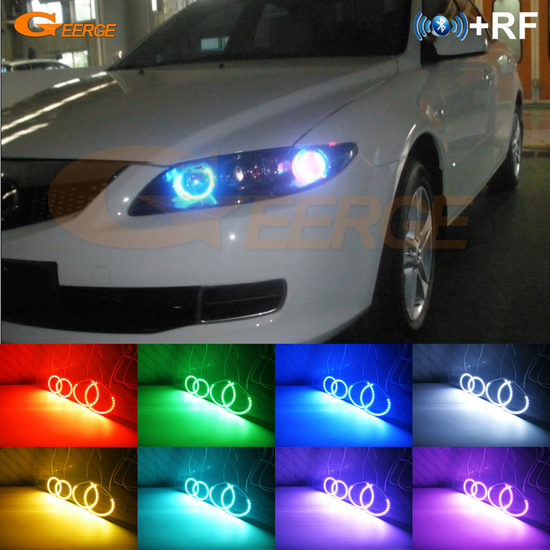 For Mazda6 Mazdaspeed <font><b>Mazda</b></font> <font><b>6</b></font> MS6 2002-2008 Excellent RF remote Bluetooth APP Multi-Color 4 pcs RGB <font><b>LED</b></font> Angel Eyes halo rings image