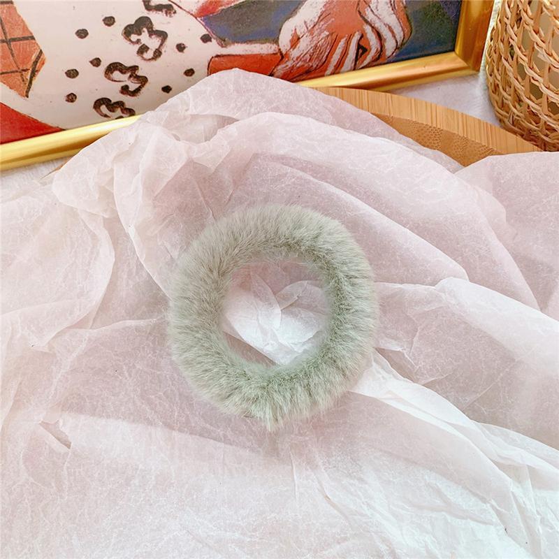 Мягкая Плюшевая повязка для волос резинки для волос натуральный мех кроличья шерсть мягкие эластичные резинки для волос для девочек однотонный цветной хвост резинки для волос для женщин - Цвет: 44