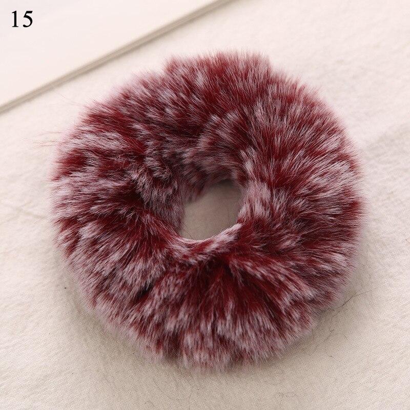 Новые зимние теплые мягкие резинки из кроличьего меха для женщин и девушек, эластичные резинки для волос, плюшевая повязка для волос, резинки, аксессуары для волос - Цвет: 15
