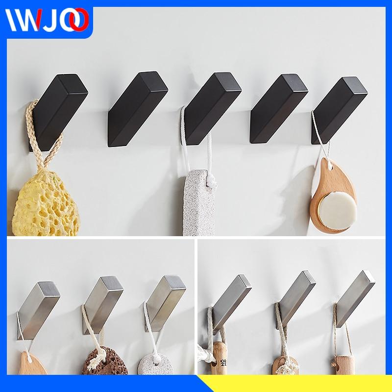 Robe Hook Black Stainless Steel Decorative Coat Hooks Wall Mounted Bathroom Hooks For Towels Key Bag Clothes Rack Bath Hardware