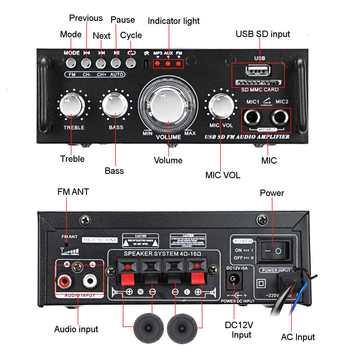 Усилитель мощности SUNBUCK AV-263BT, 2*300 Вт, AUX, USB, AMP, FM 2