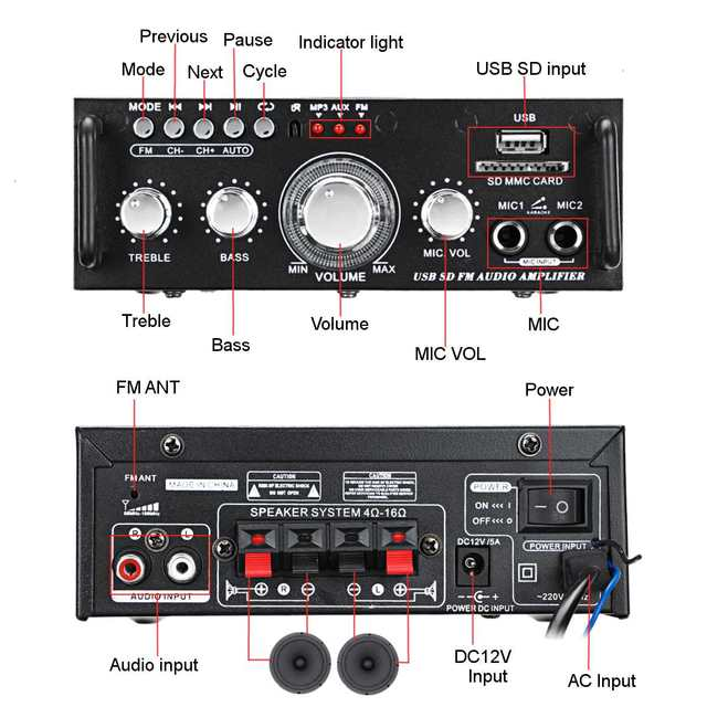 Усилитель мощности SUNBUCK AV-263BT, 2*300 Вт, AUX, USB, AMP, FM