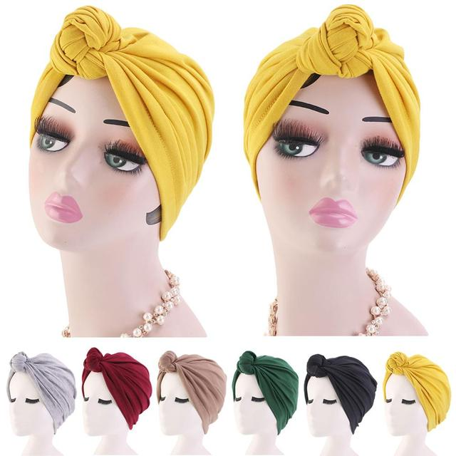 Muslim Turban Beanie Hats Knotted Elastic Head Wrap Cap Women Chemo Arab Caps Pleated Islamic Hair Loss Hat Chemo Cap Bonnet New