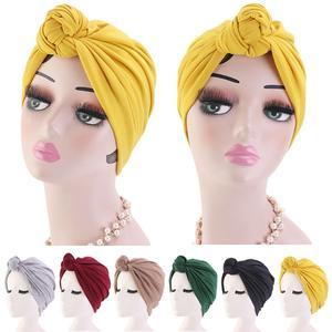 Image 1 - 이슬람 turban 비니 모자 매듭이 달린 탄성 머리 랩 캡 여성 chemo arab caps pleated 이슬람 탈모 모자 chemo cap bonnet new