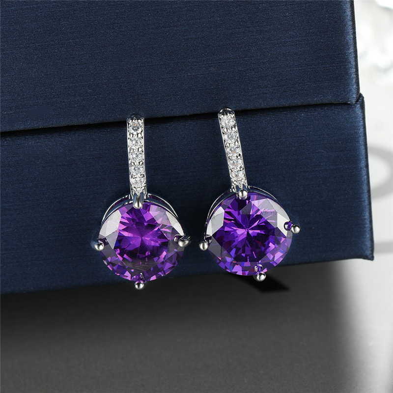 Vintage Female Purple Crystal Stone Earrings Rose Gold Silver Color Stud Earrings Luxury Round Zircon Wedding Earrings For Women