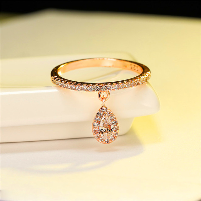Female Luxury Water Drop Pendant White Zircon Rings For Women Yellow Gold/White Gold/Rose Gold Filled Crystal Ring Boho Jewelry 6
