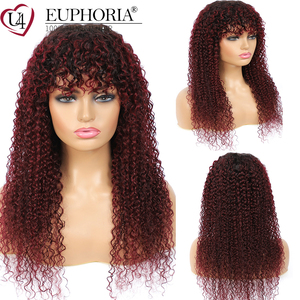 Image 3 - Ombre Brown 30 Kinky Curly Human Hair Wigs Brazilian Remy Hair Full Machine Made Wigs With Bangs Natural Color Wigs Euphoria