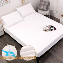 Mattress-Protector Washable Waterproof Bed Elastic-Band Anti-Mite White with Sanding