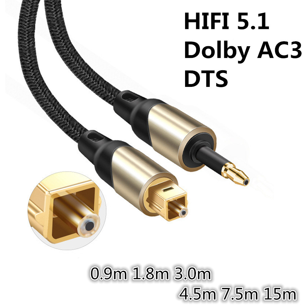 Mini 3.5mm Optical <font><b>Audio</b></font> Cable SPDIF Toslink Cable 3.5 Mini to Optical Cable 0.9m 1.8m 3m 15m Braided <font><b>Jacket</b></font> DVD TV Amplifier image