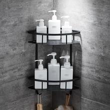 Treo Tường Nhà Tắm Đen Trangle KỆ NHÔM Giỏ Chứa Đồ Tắm Caddy Kệ Máy Sấy Tóc Giá Đỡ Etagere Tipi Repisa