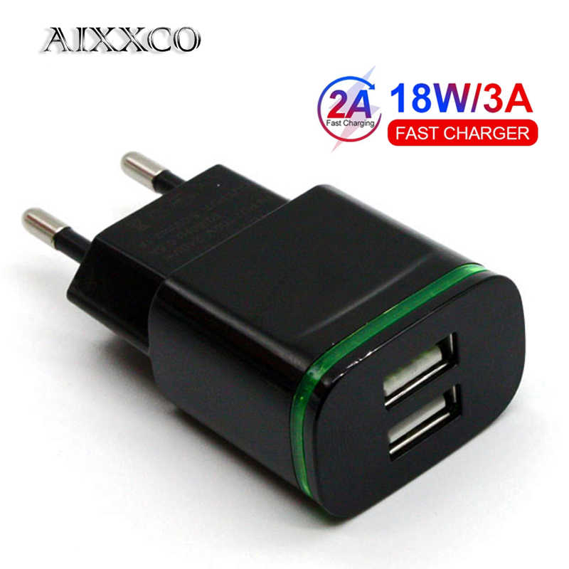 Aixxco 5V 2A Eu Plug Led Light 2 Usb Adapter Mobiele Telefoon Lader Apparaat Quick Lading Qc 3.0 mobiele Charger Fast Charger