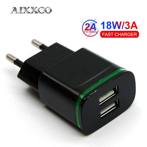 AIXXCO 5V 2A EU Plug LED Light 2 USB Adapter Mobile Phone Wall Charger Device Quick Charge QC 3.0 Mobile Charger Fast Charger(China)