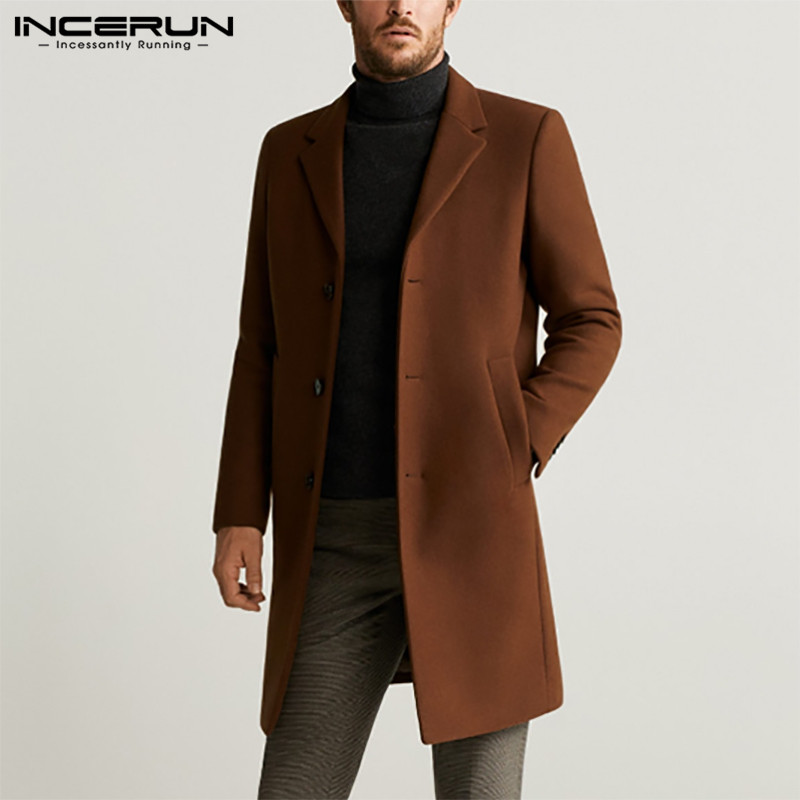 Men Coats Solid Color Faux Wool Blends Long Sleeve Windbreaker Lapel Elegant Jackets Winter 2020 Fashion Mens Overcoats INCERUN